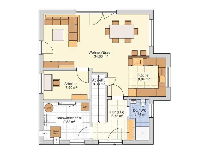 Grundriss Erdgeschoss Entwurf Seka von Fingerhut Haus