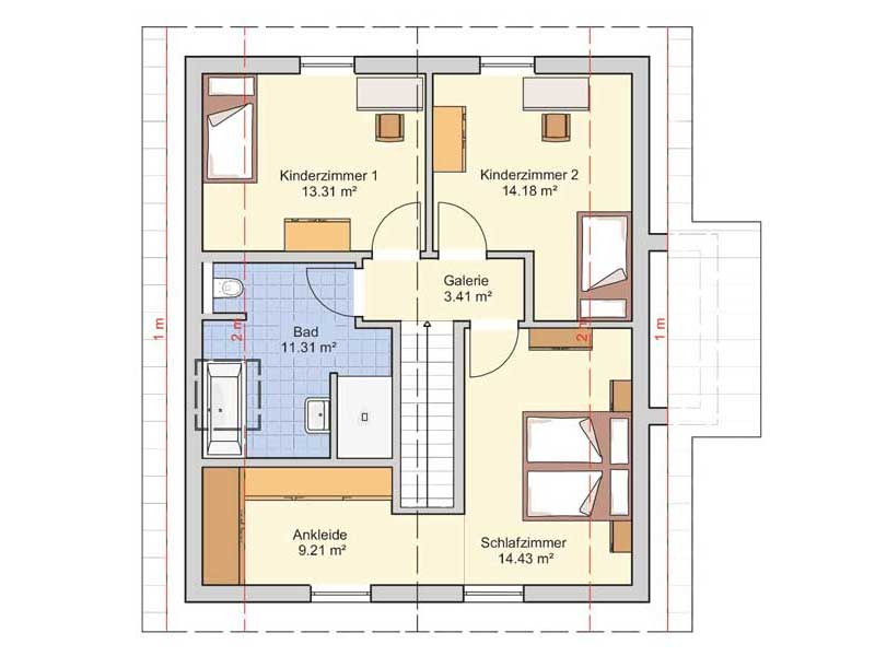 Grundriss Obergeschoss Entwurf Seka von Fingerhut Haus