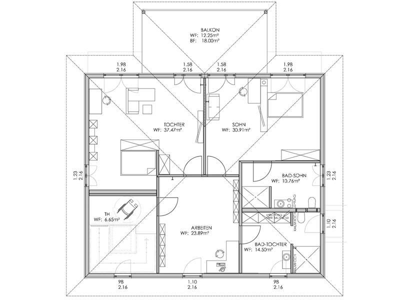 Grundriss Dachgeschoss Musterhaus Bohlingen von Bodenseehaus