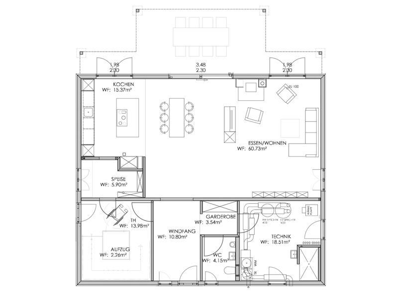 Grundriss Erdgeschoss Musterhaus Bohlingen von Bodenseehaus