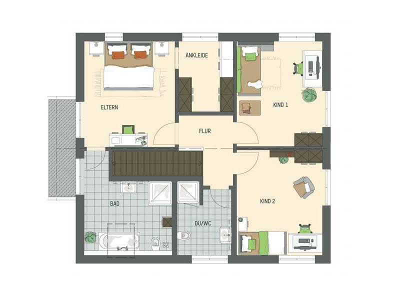 Grundriss Dachgeschoss Musterhaus Büdingen Artis 302 von Fingerhaus