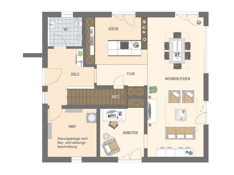 Grundriss Erdgeschoss Musterhaus Büdingen Artis 302 von Fingerhaus