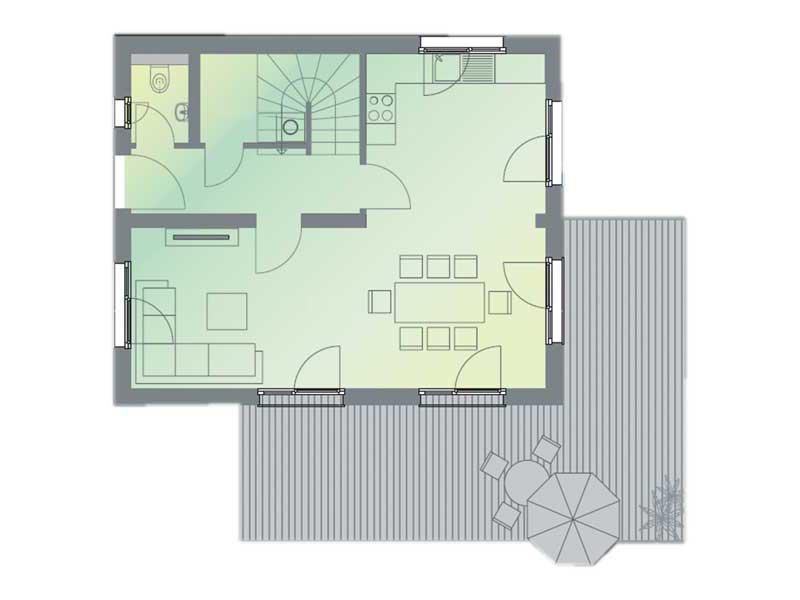 Grundriss Erdgeschoss Musterhaus Space von Deutsche Hausmanufaktur
