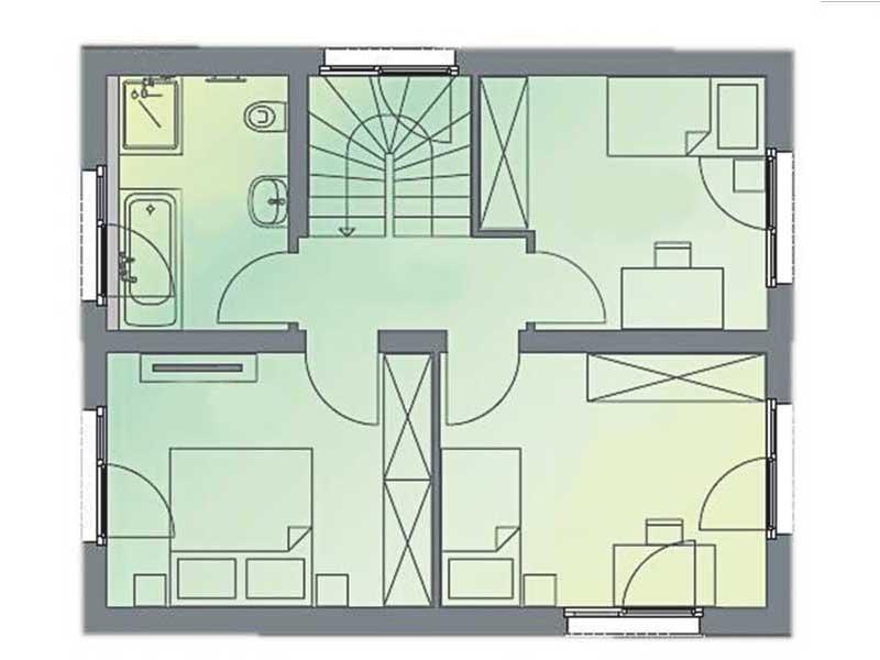 Grundriss Obergeschoss Musterhaus Space von Deutsche Hausmanufaktur