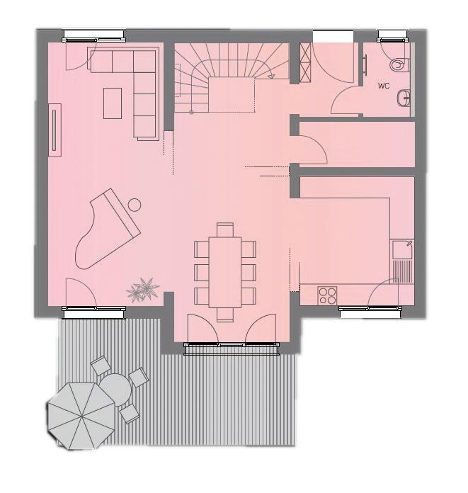 Grundriss Erdgeschoss Musterhaus Space 6.4 von Deutsche Hausmanufaktur