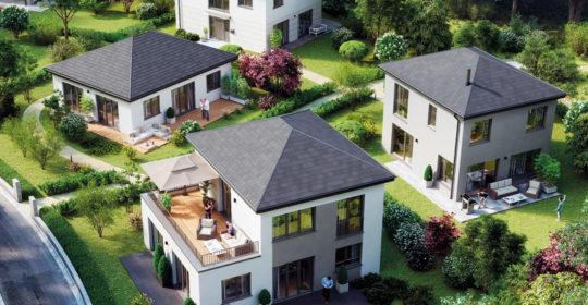 Musterhaus Space 6.4 der Deutschen Hausmanufaktur. Luftbild