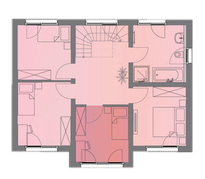 Grundriss Obergeschoss Musterhaus Space 6.4 von Deutsche Hausmanufaktur