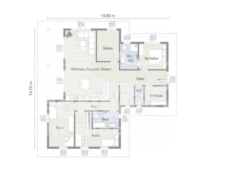 Grundriss Erdgeschoss Blockhaus Enztal von Léonwood