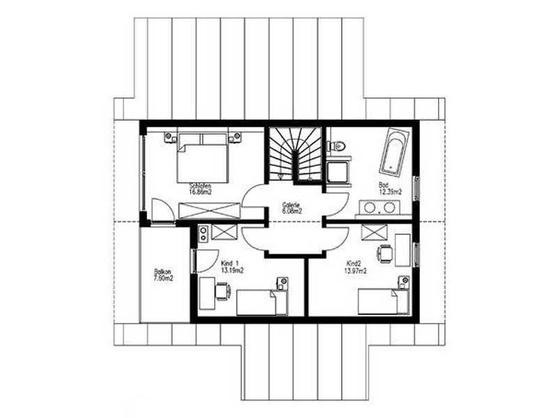 Grundriss Obergeschoss Haus Bräuning von Sonnleitner