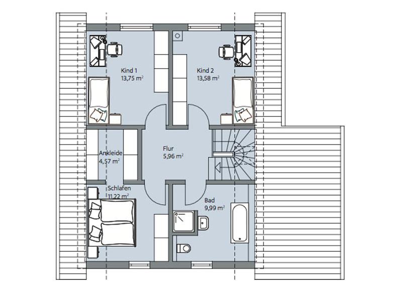 Haus Urban von Baumeisterhaus. Grundriss Obergeschoss