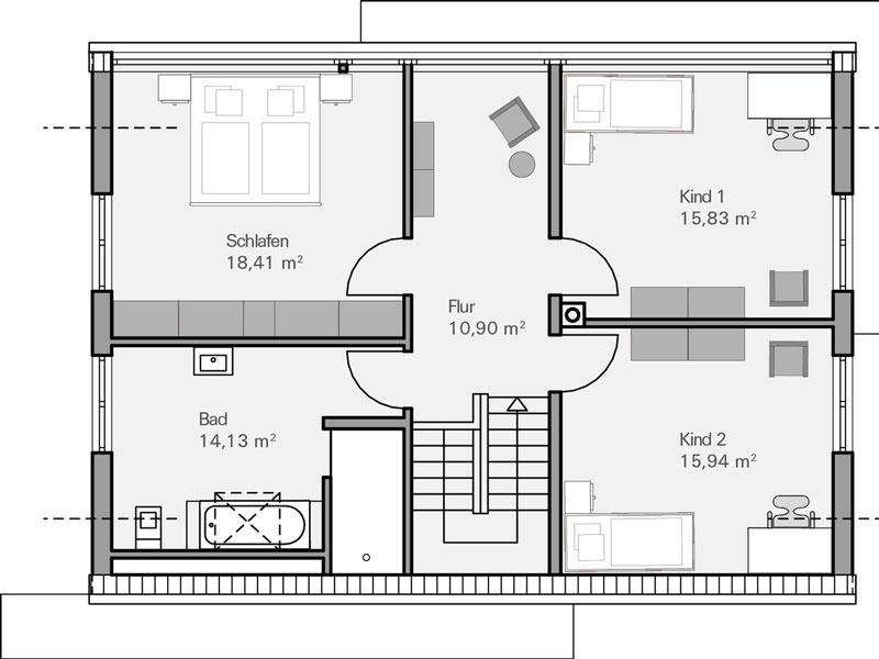 Haus Vettel von Baumeisterhaus. Grundriss Obergeschoss
