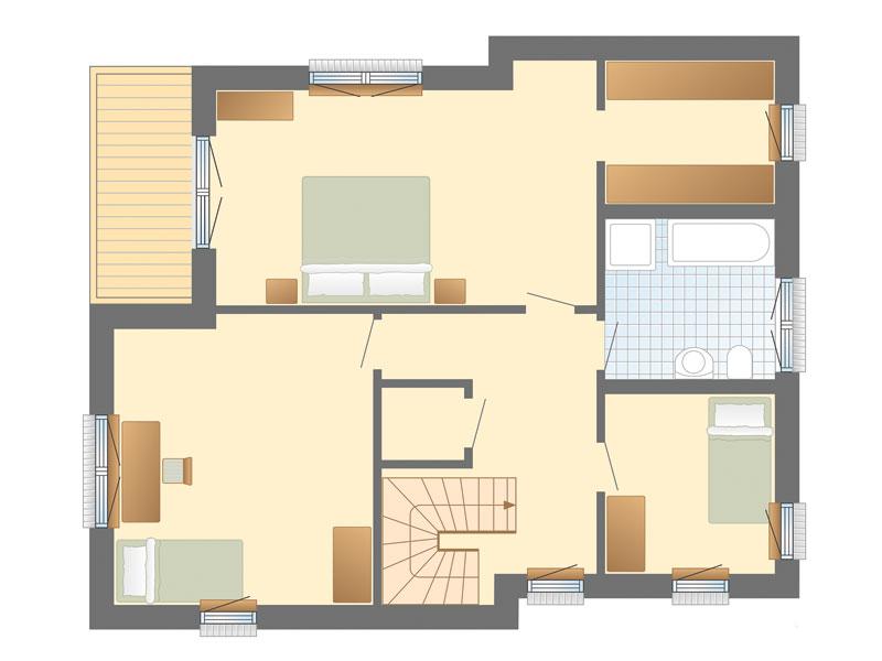 Grundriss Obergeschoss Haus Solitüde von Danhaus
