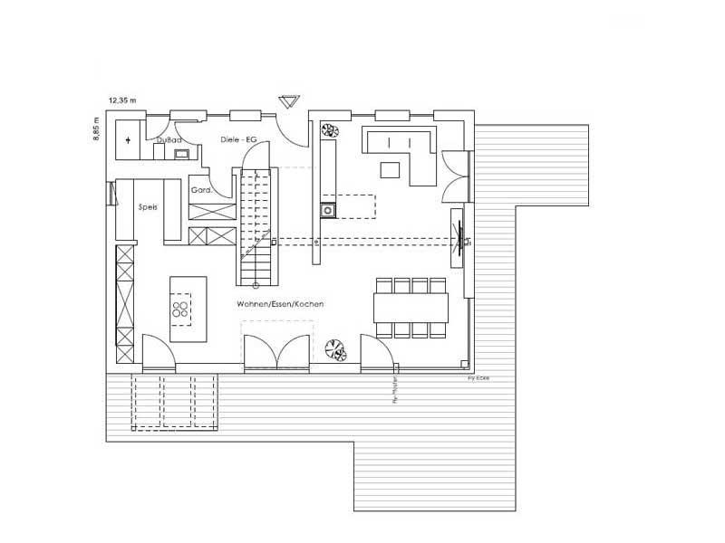 Grundriss Erdgeschoss Vitalhaus Aschau von Regnauer Hausbau