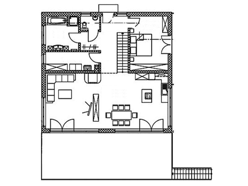 Grundriss Erdgeschoss Blockhaus Halsbach von Chiemgauer Holzhaus