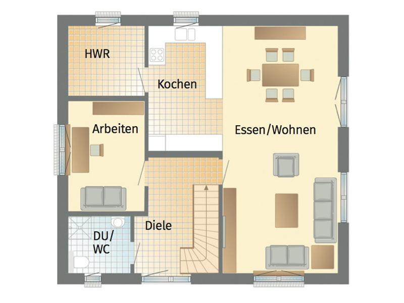 1Liter!-Haus Stockholm von Danhaus. Grundriss Erdgeschoss