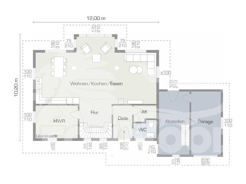 Grundriss Erdgeschoss Entwurf Feodora von Léonwood