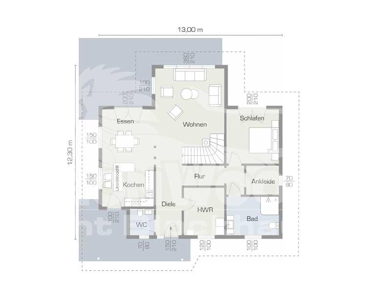 Grundriss Erdgeschoss Blockhaus Lancaster von Léonwood