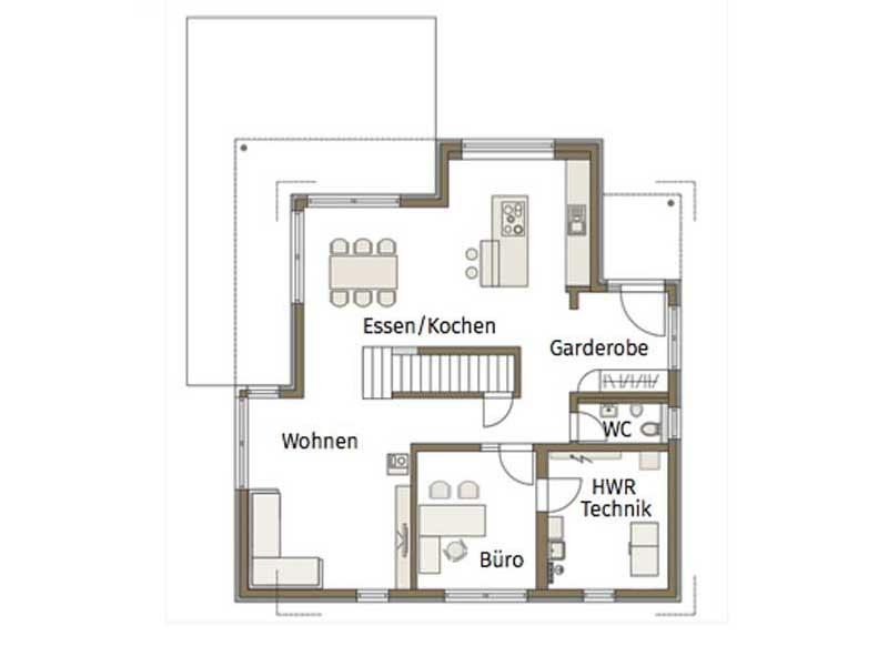 Grundriss Erdgeschoss Musterhaus Relax von Fertighause Weiss