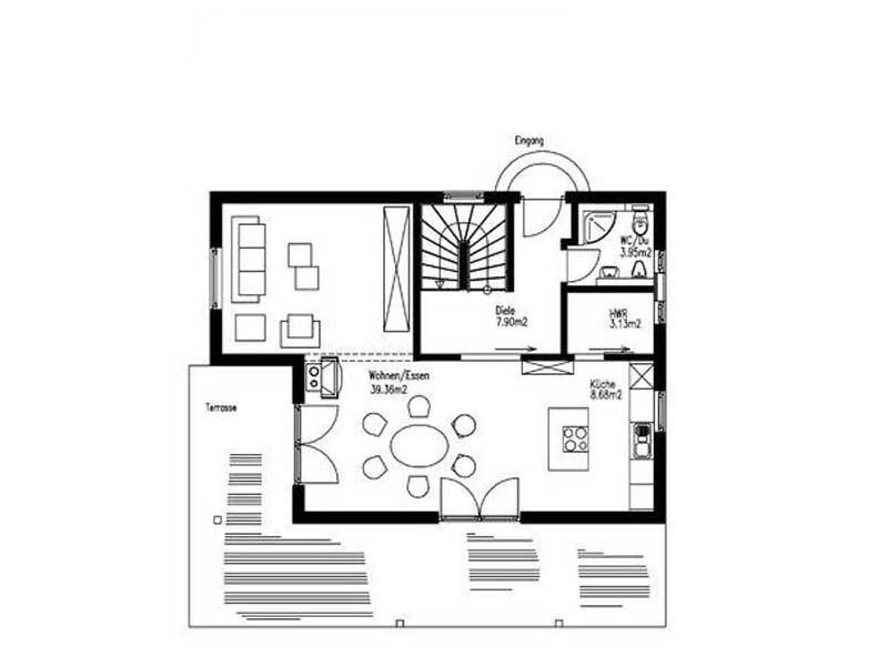 Grundriss Erdgeschoss Haus Bräuning von Sonnleitner