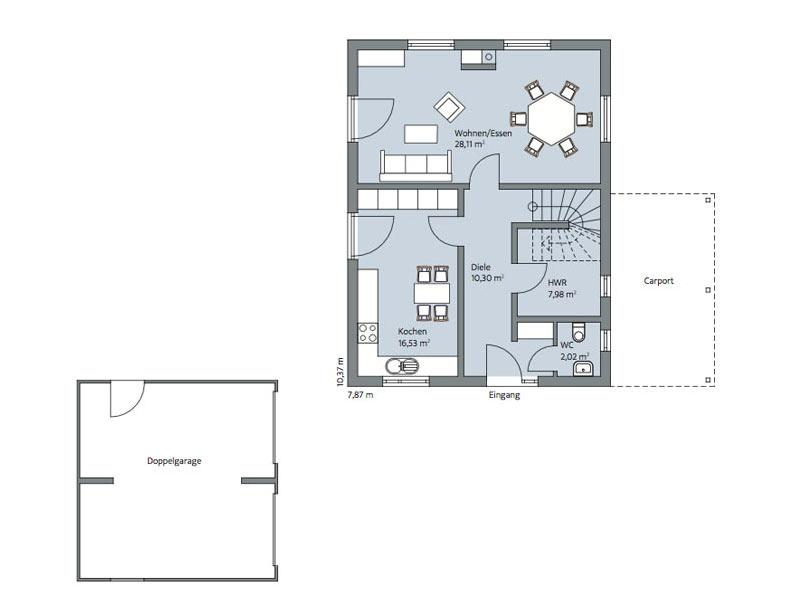 Haus Urban von Baumeisterhaus. Grundriss Erdgeschoss