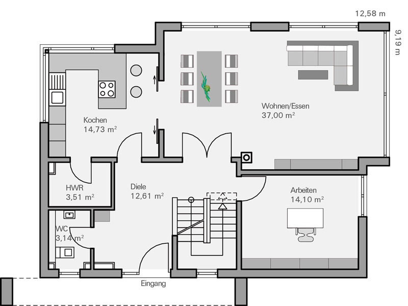 Haus Vettel von Baumeisterhaus. Grundriss Erdgeschoss