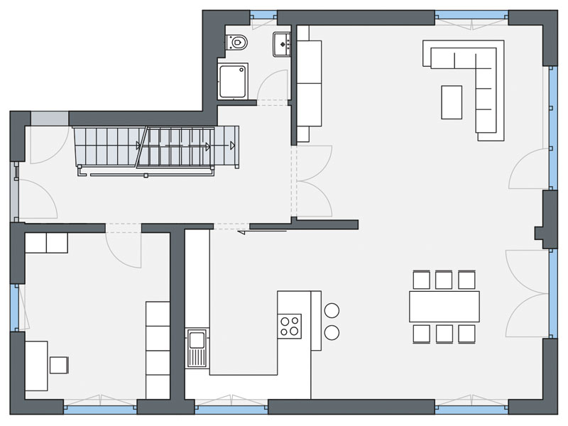 Grundriss Erdgeschoss Haus Greve von Weberhaus
