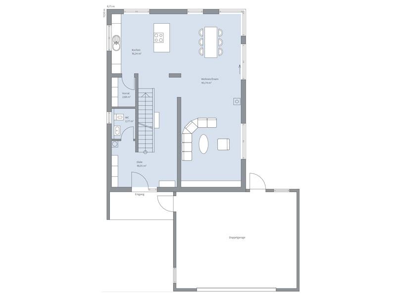 Haus Zimdal von Baumeisterhaus. Grundriss Erdgeschoss