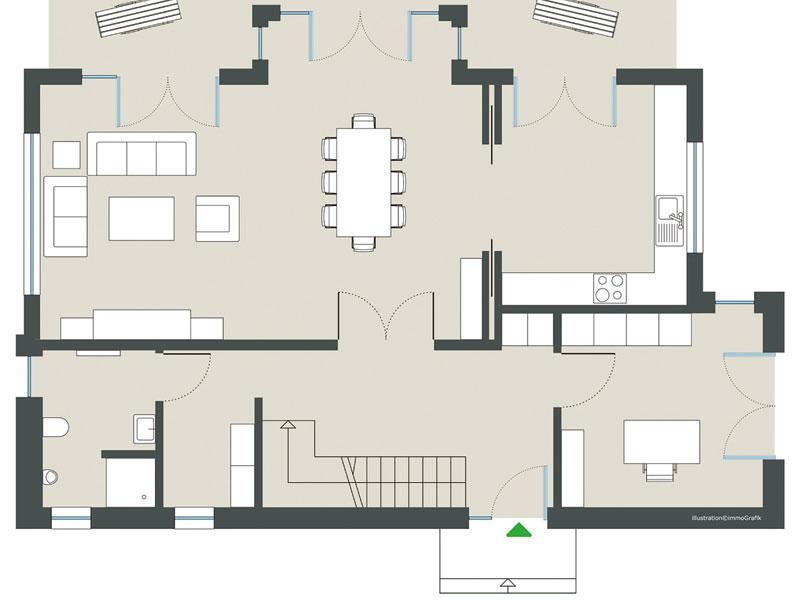 Grundriss Erdgeschoss Modell Chelsea von Gussek Haus