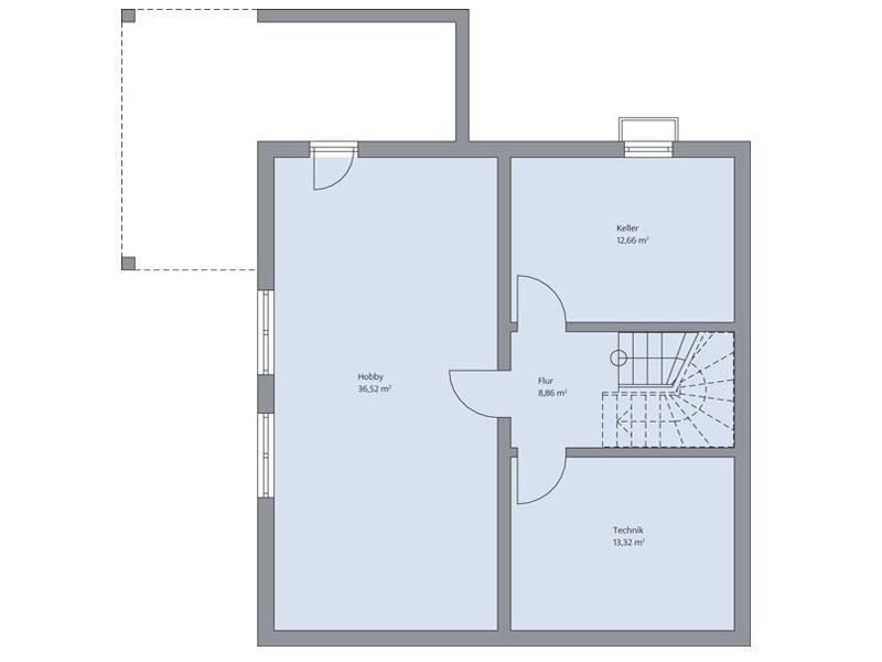 Haus Steinmann von Baumeisterhaus. Grundriss Kellergeschoss
