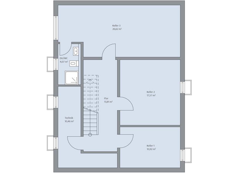 Haus Zimdal von Baumeisterhaus. Grundriss Kellergeschoss