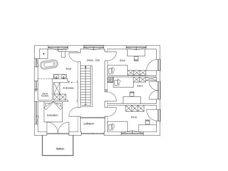 Grundriss Obergeschoss Vitalhaus Aschau von Regnauer Hausbau