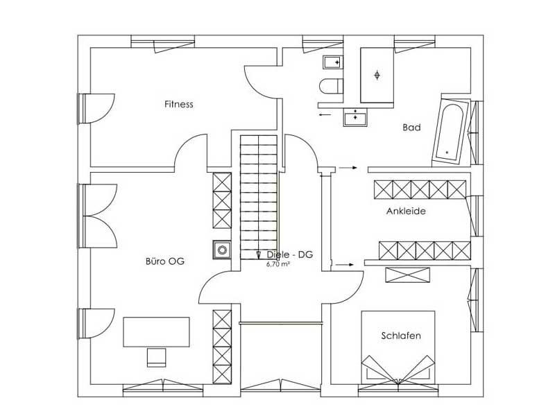 Grundriss Obergeschoss Entwurf Bruckmühl von Regnauer