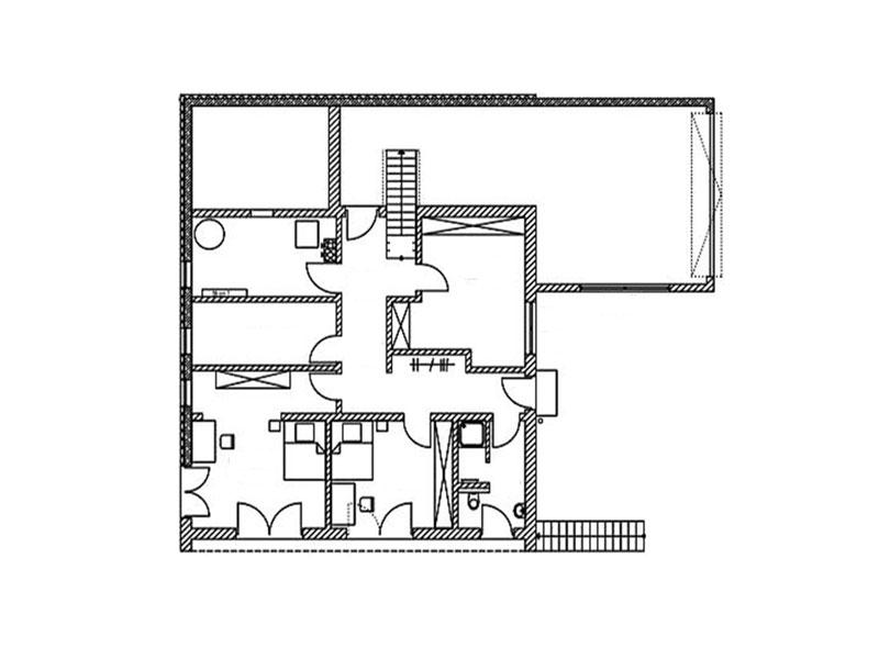 Grundriss Obergeschoss Blockhaus Halsbach von Chiemgauer Holzhaus