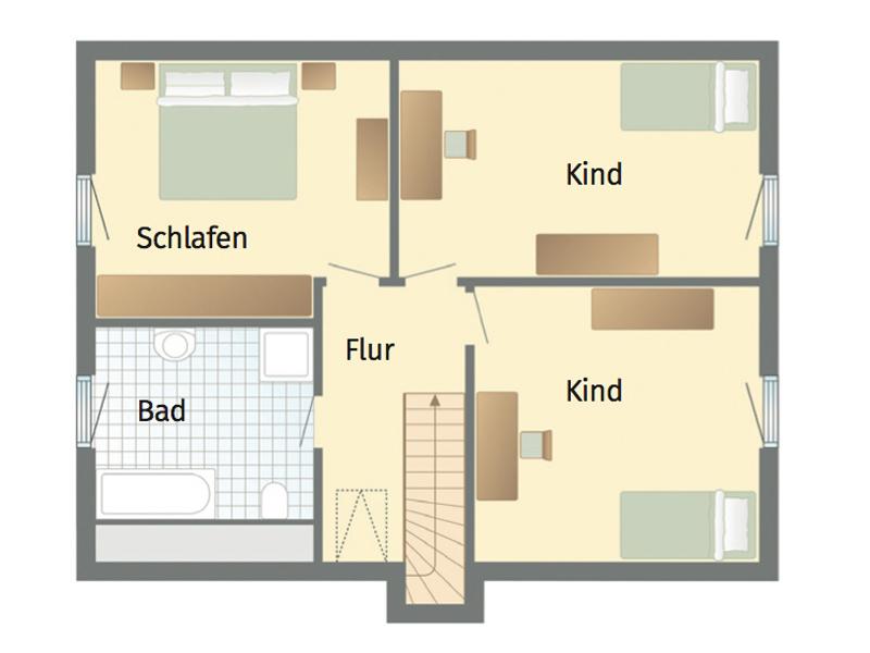 1Liter!-Haus Stockholm von Danhaus. Grundriss Obergeschoss