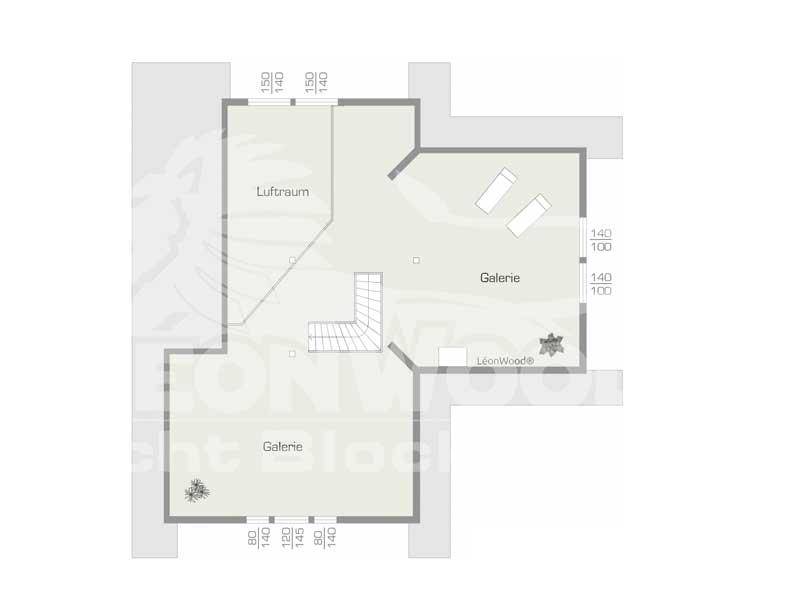 Grundriss Obergeschoss Blockhaus Enztal von Léonwood