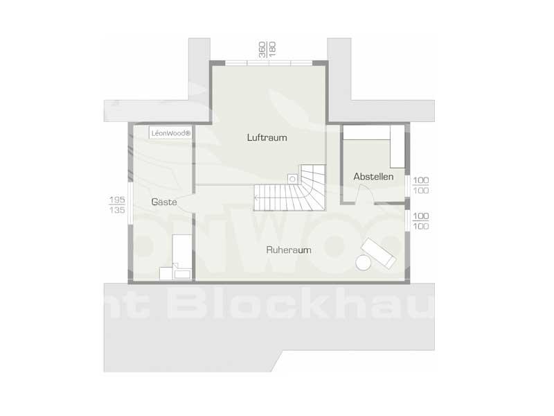 Grundriss Obergeschoss Blockhaus Lancaster von Léonwood