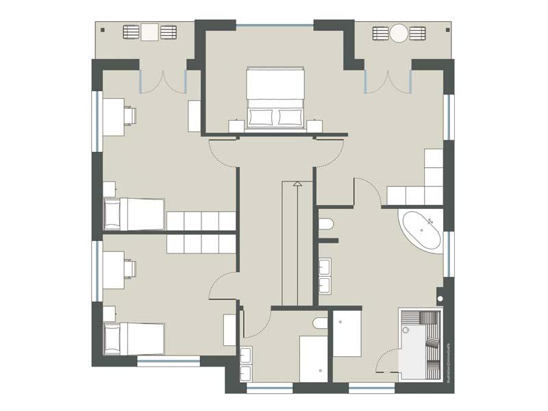 Grundriss Obergeschoss Stadtvilla Jette von Gussek Haus