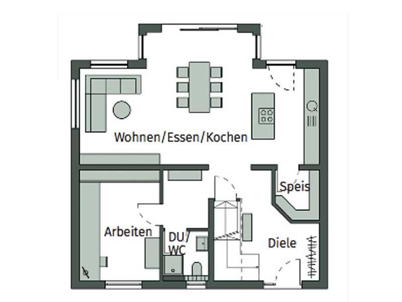 Grundriss Erdgechoss Haus Elfenberg von Schwörerhaus