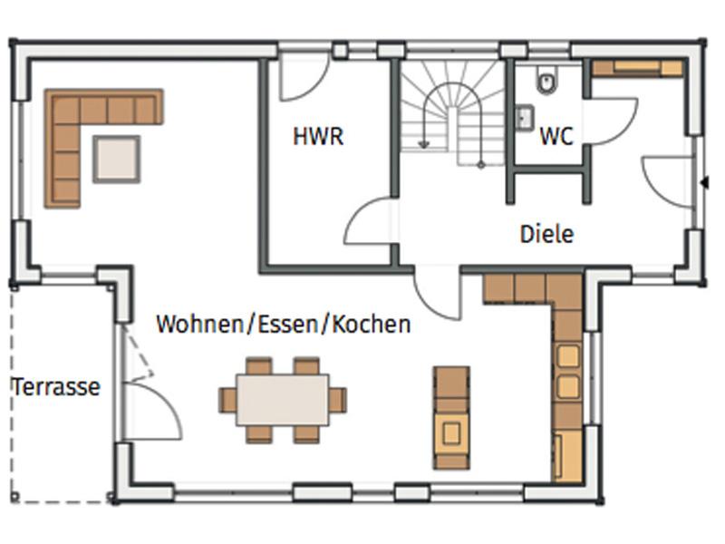 Grundriss Erdgeschoss Haus Hortensie von Stommel Haus