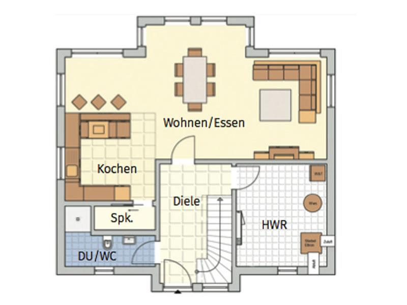 Grundriss Erdgeschoss Entwurf Kelovon Fingerhut Haus