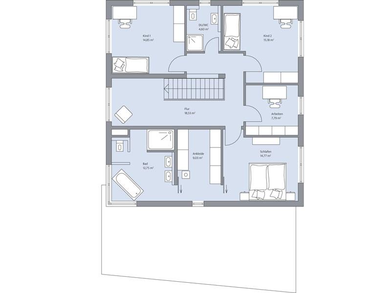 Grundriss Obergeschoss Haus Althoff von Baumeister Haus