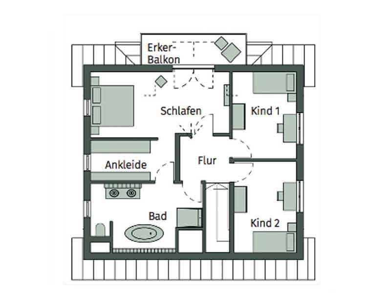 Grundriss Obergechoss Haus Elfenberg von Schwörerhaus