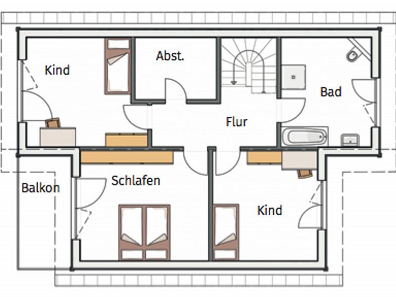 Grundriss Obergeschoss Haus Hortensie von Stommel Haus