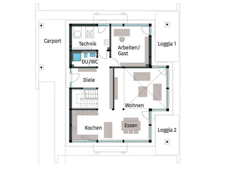 Grundriss Erdgeschoss Art 3 Hachenburg von Huf Haus