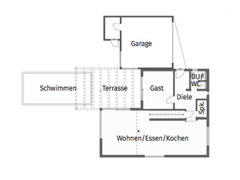Grundriss Erdgeschoss Homestory 741 von Lehner Haus