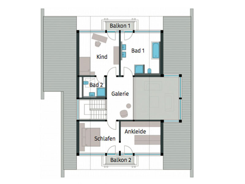 Grundriss Obergeschoss Art 3 Hachenburg von Huf Haus