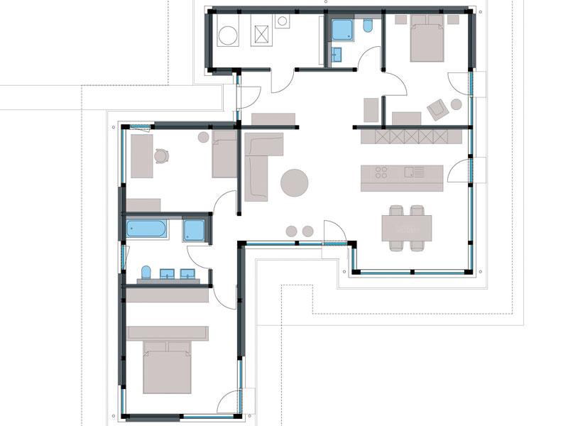 Grundriss Modum Bungalow von Huf Haus