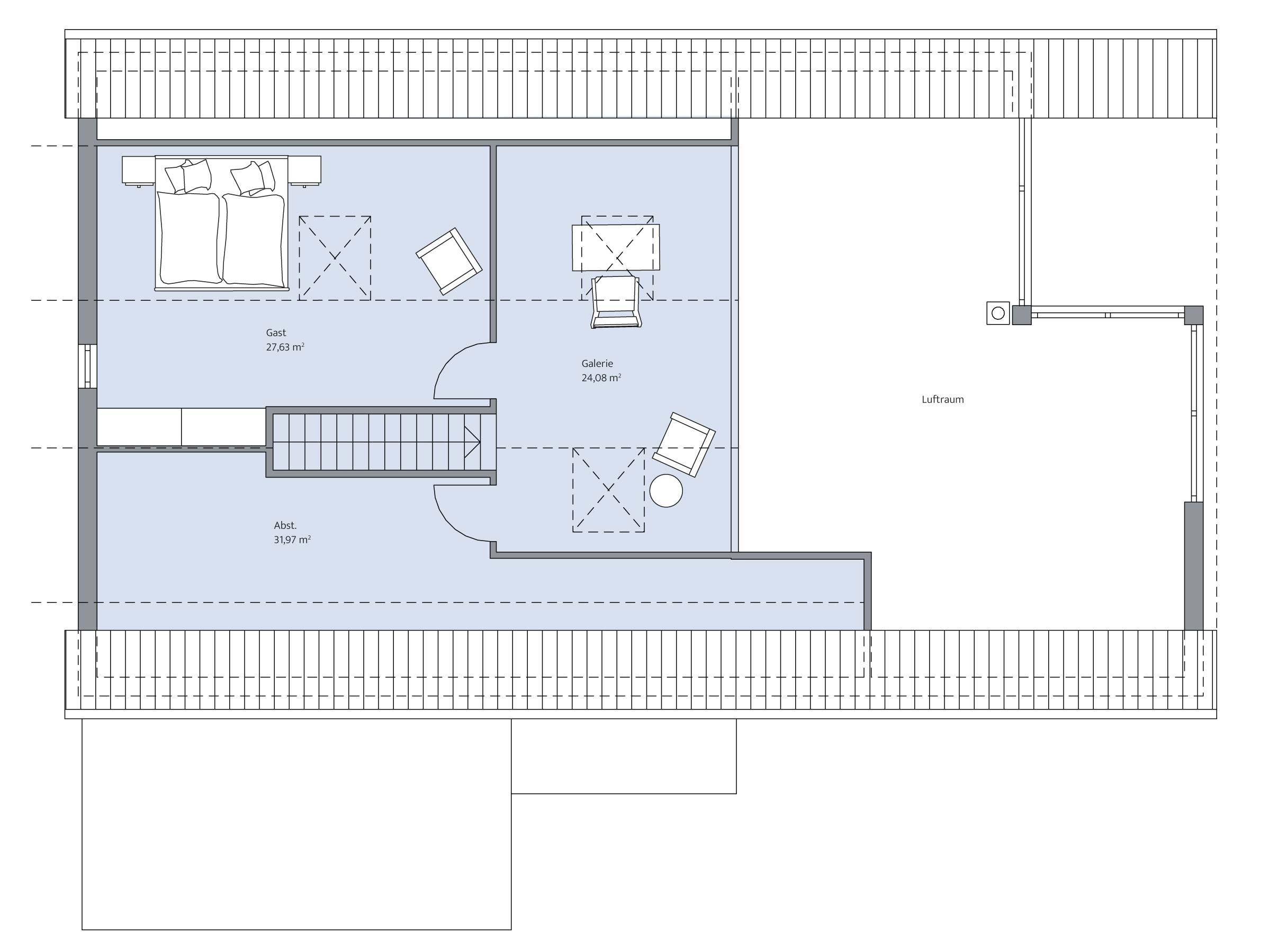 Grundriss Dachgeschoss im Haus Augenthaler von Baumeister-Haus