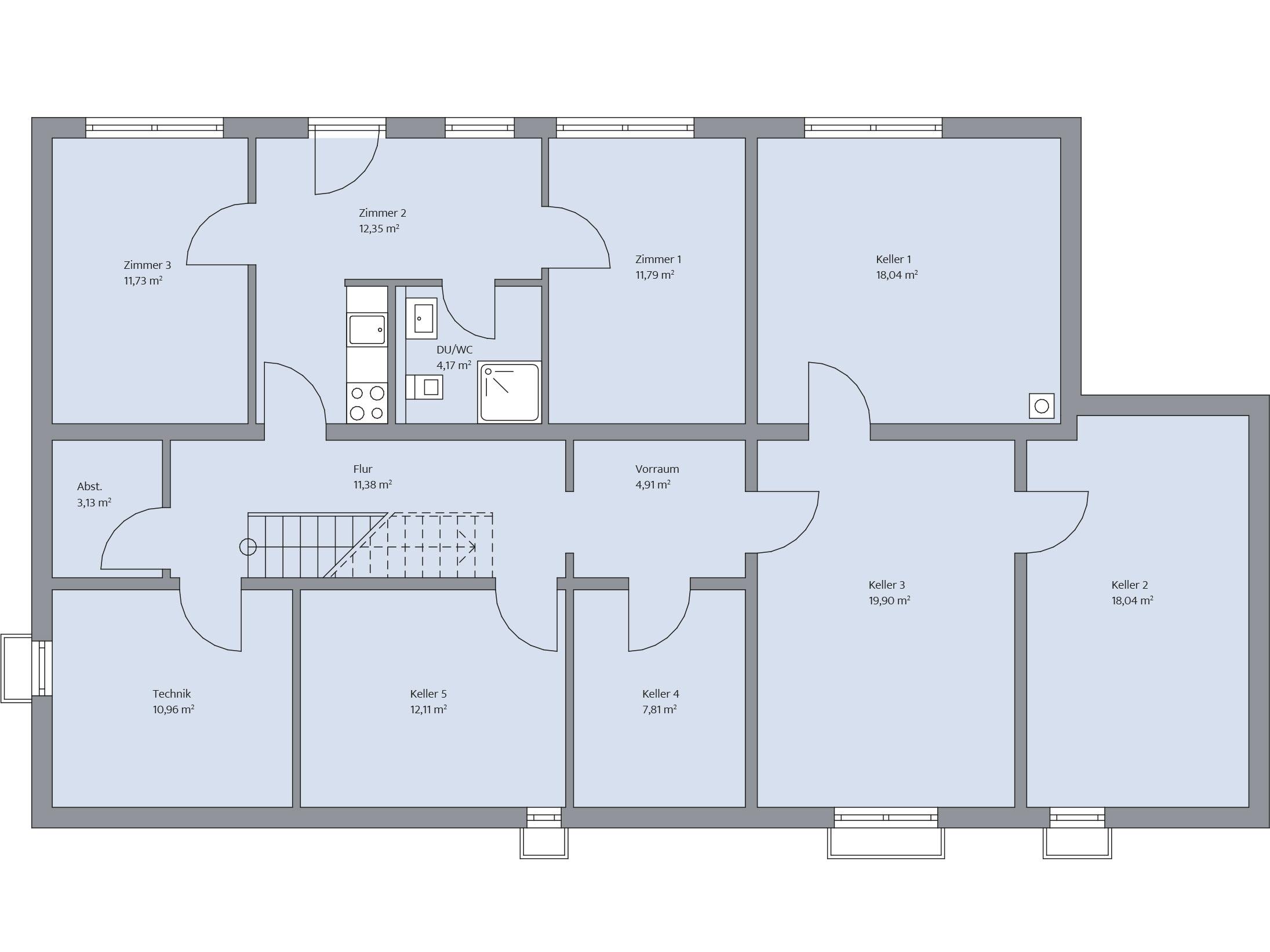 Grundriss Untergeschoss im Haus Augenthaler von Baumeister-Haus