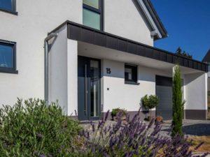 Haus Steinmann von Baumeisterhaus. Eingangsbereich mit Tür.